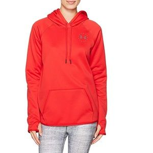 Under Armour UA red Rival Freedom Flag hoodie L